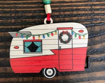 Festive Camping Trailer Christmas Ornament - vintage camper