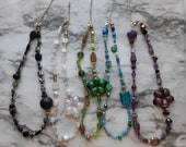 Beaded Choker Necklaces with Gemstones and Fused Glass