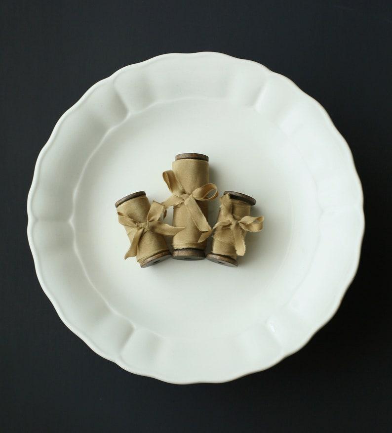 Hand Dyed 100/% Habotai 2m Silk Ribbon with wooden spool ~ sustainable styling eco wedding decor Caramel Bronze 4 cm Naturally Plant