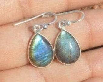 Natural Stone Earrings Natural Fiery LABRADORITE Sterling silver Earrings Handmade Earrings Sterling Silver Labradorite Artisan Earrings