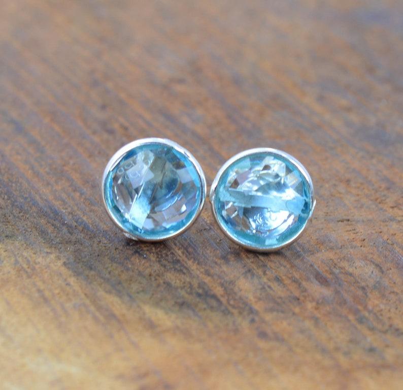 Blue Quartz 925 Sterling Silver Round Shape Stud Earring