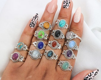 925 Sterling Silver Moonstone / Onyx / Tiger's Eye / Chalcedony / Turquoise / Labradorite / Amethyst Natural Crystal Designer Silver Ring