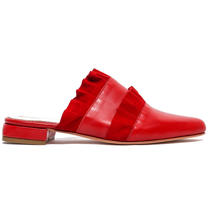 Red Leather Womens Pointed Flat Shoes  Mules  Clogs  Slippers with Ruffles