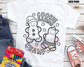 Christmas Coloring Tee (Markers NOT Included), Cookie Baking Champ