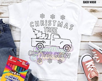 Christmas Coloring Tee (Markers NOT Included), Christmas Tree Cutting Crew