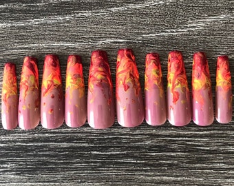 Flame nails | Etsy