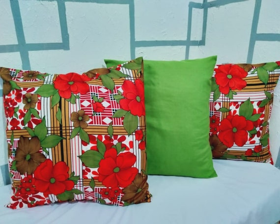 Floral Pillow Set Of 3 Cushions Handmade Cushion Cover Etsy