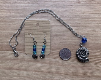 Spiral Shell Necklace and Earrings with Blue Glass Beads