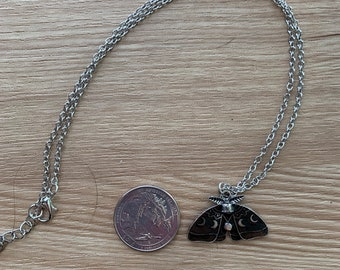 """Delicate luna moth pendant with moon phases on 18"""" chain"""