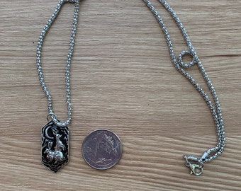 Two Hares and the Moon Ostara Pendant