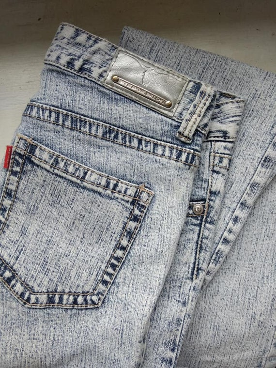 Flared low waste jeans
