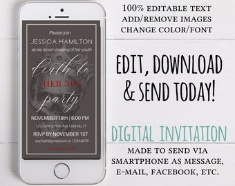 Death to Your 30's Party Invitation Edit Yourself Template, RIP 20's, Death To My 20s death Party, 30th Birthday Digital  Invite