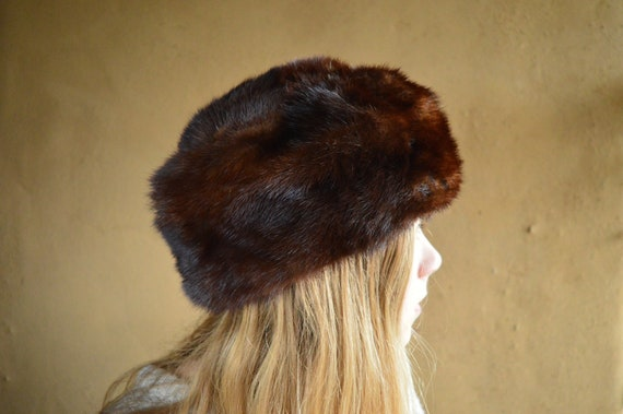 Brown mink fur hat. Russian vintage 1950s hat