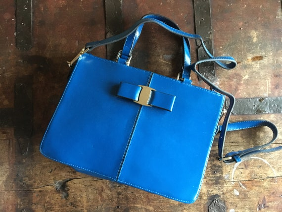 Small vintage briefcase women. Blue leather satche