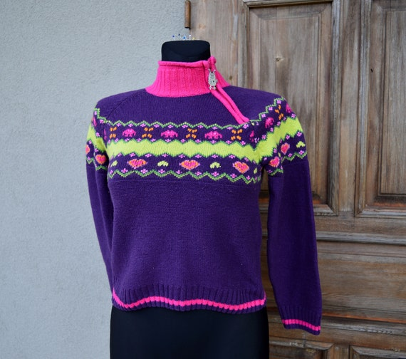 Cottagecore purple sweater. Vintage from 1990 - image 7