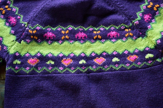 Cottagecore purple sweater. Vintage from 1990 - image 4