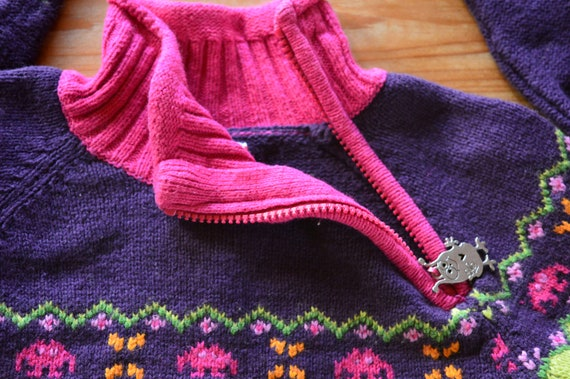 Cottagecore purple sweater. Vintage from 1990 - image 6