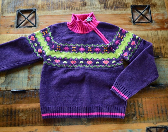 Cottagecore purple sweater. Vintage from 1990