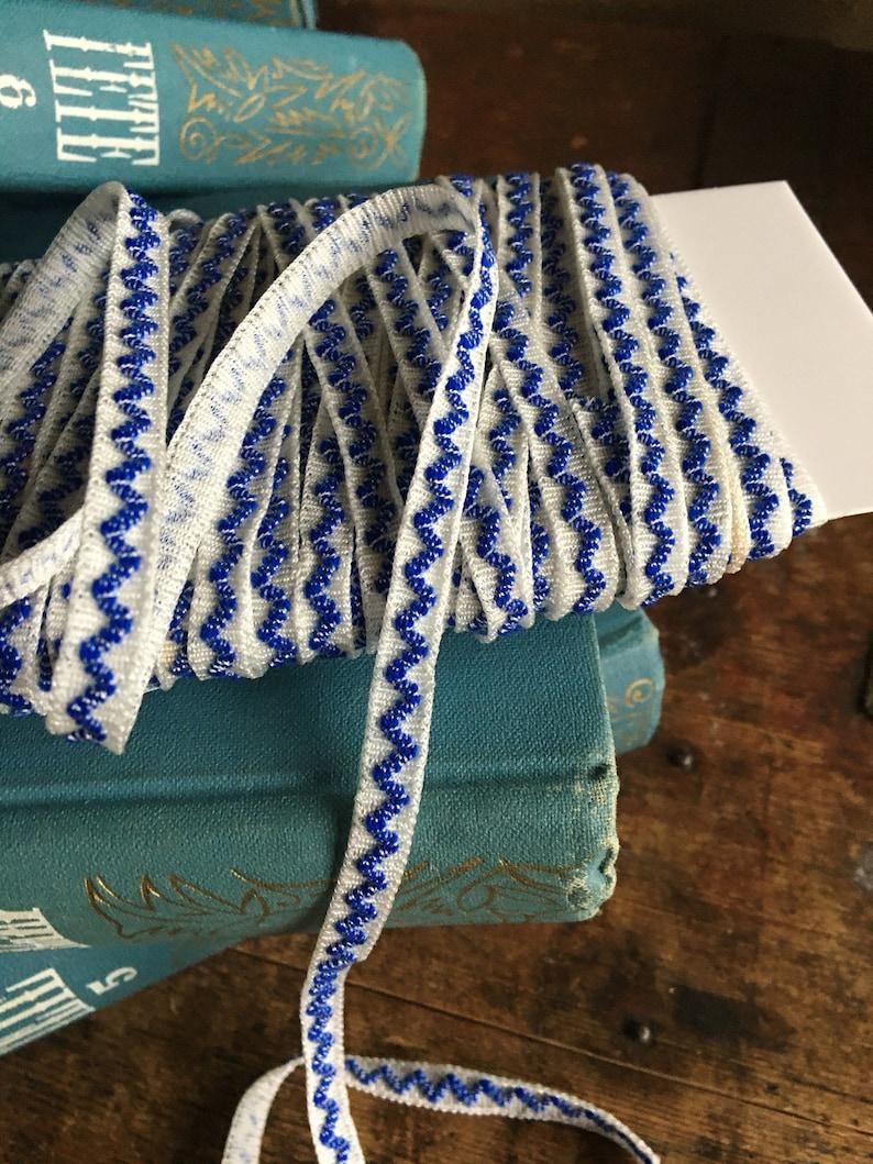 Vintage edging narrow tape 0.7 cm  0.27 Blue lace trim ecru antique destash
