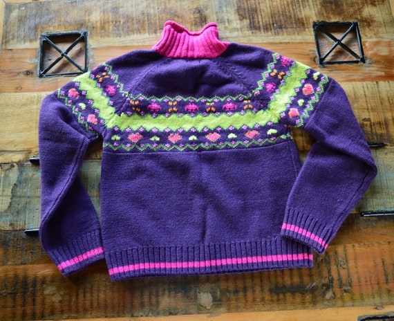 Cottagecore purple sweater. Vintage from 1990 - image 3