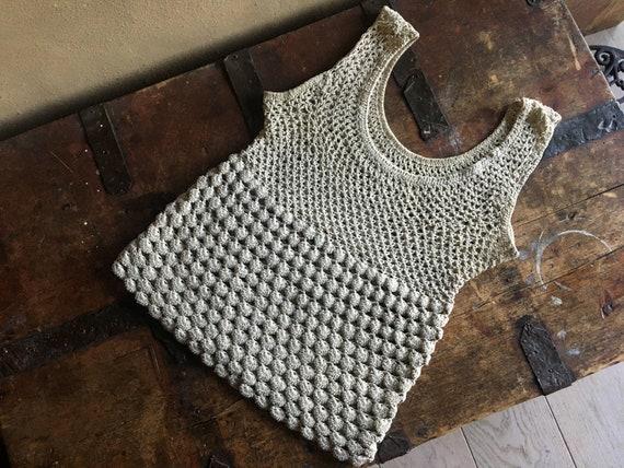 70s crochet vest. Vintage undyed linen small vest.