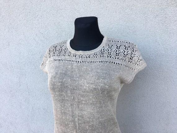 70s crochet dress Vintage undyed linen women's dre