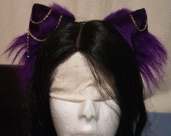 Purple Cat Ear Headband Faux Fur Ears/ Cosplay Ears/ Kawaii/ DDLG/ Petplay/ Kitten Ears/ Fischl/ Genshin Impact/ Chains/ Crystal
