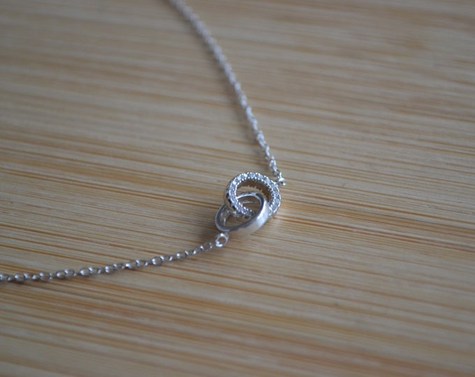 Sterling Silver Double Loop Necklace Cubic Zirconia Circle Pendant Necklace Sterling Silver Cubic Zirconia Unity Pendant Necklace