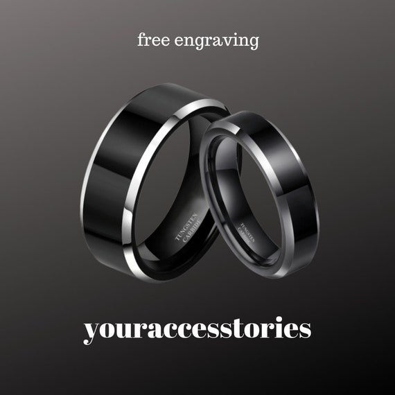 Set 2 piece Black Tungsten Ring,High Polish Tungsten Ring ,Men Ring,Anniversary Ring,Custom,Handmade,6 mm 8mm Free Laser Engrave,mens,women