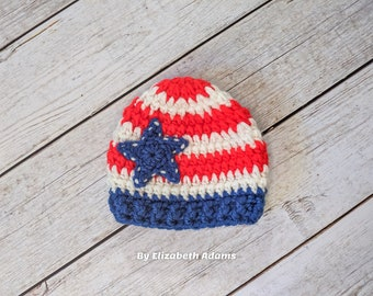 Adult Cuff Beanie United States of America 4th of July Knitted Hat