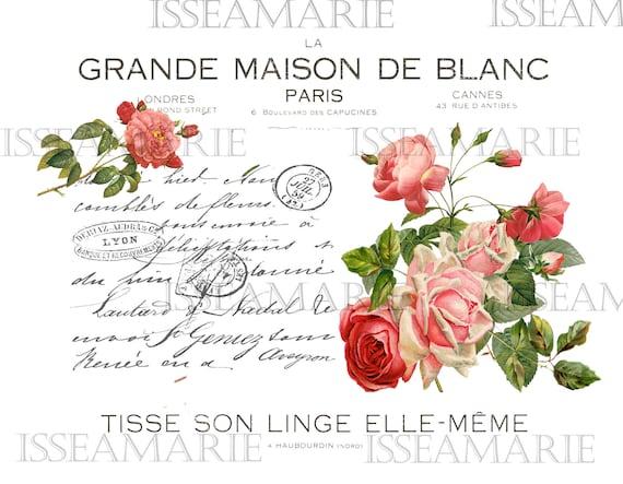 Furniture Dolls House Image Transfer Vintage Antique French Labels rose frames