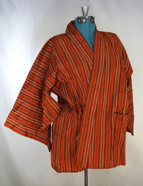Vintage orange striped metallic wrap kimono
