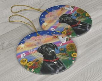 LABRADOR RETRIEVER Yellow Lab Ornament NEW Christmas Sandicast Dog Scarf Red Wht