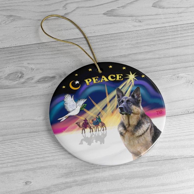 German Shepherd in Christmas Dove Keepsake Ceramic image 0