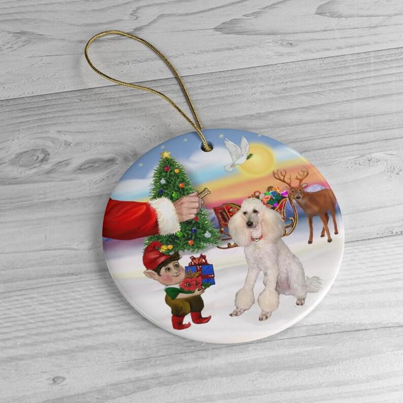 Santa Offers His White Poodle fancy cut a Treat  Keepsake image 0