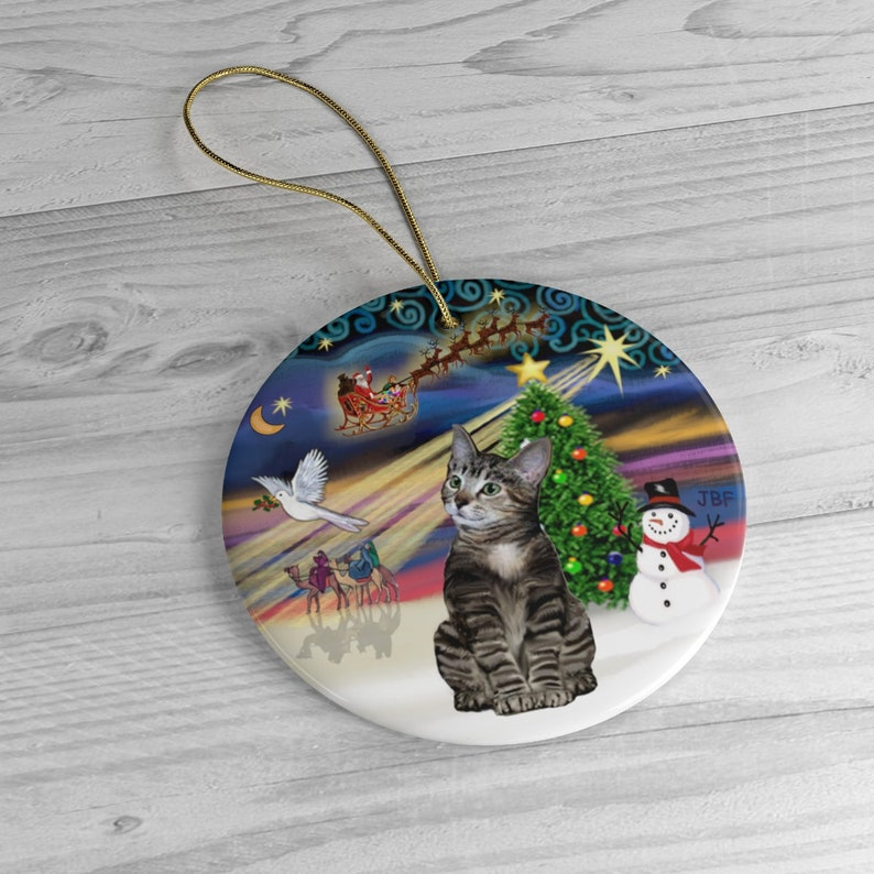 Brown Tabby Tiger Cat in Christmas Magic Heirloom image 0