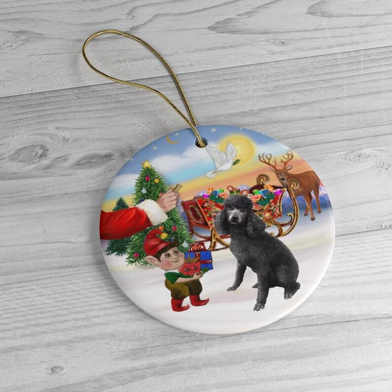 Santa Offers His Black Standard Poodle 1 a Treat Keepsake image 0