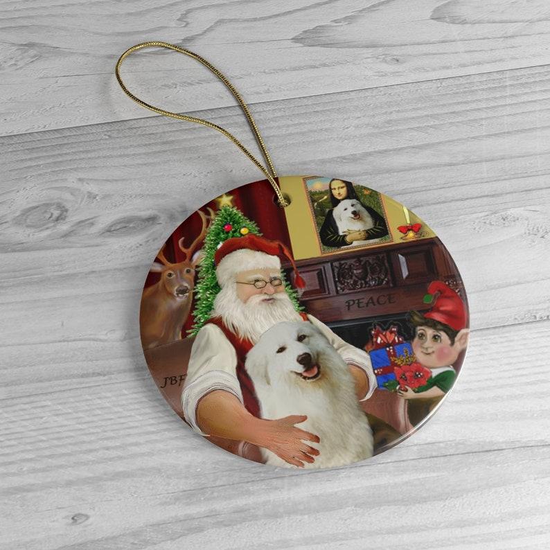 Great Pyrenees with Santa at Home Keepsake Ceramic Ornament image 0
