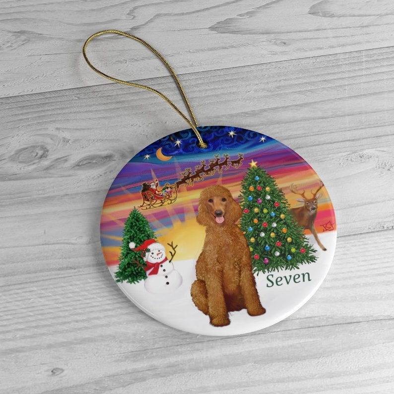 PERSONALIZED:  Apricot Standard Poodle in Santa's image 0