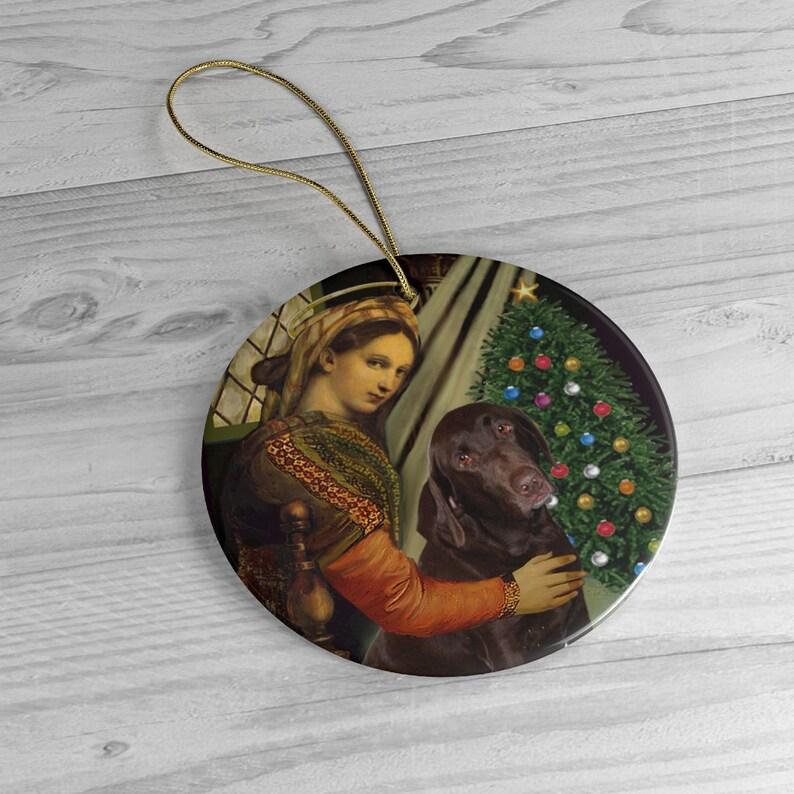 Chocolate Labrador in Famous Madonna... Raphael image 0