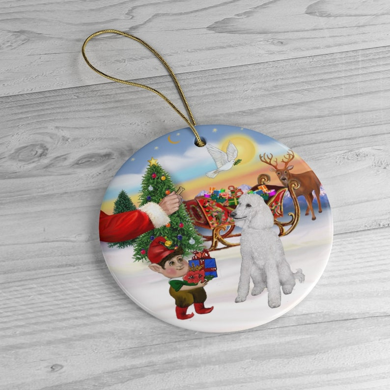 Santa Offers his White Standard Poodle a Treat  Keepsake image 0