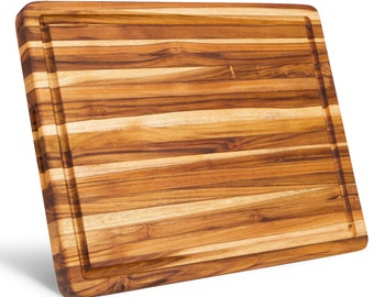 Large Reversible Teak Wood Cutting Board 18 x 14 x 1.25 Inch Carving Board with Juice Groove