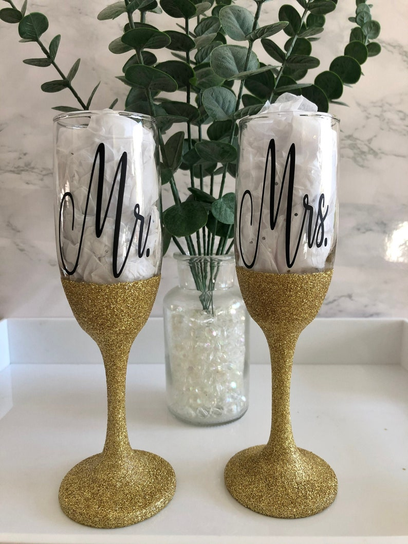 Mr Toasting Glasses and Mrs Champagne Glasses His and Hers Champagne Glasses Gold Glitter Bride and Groom Wedding Gift