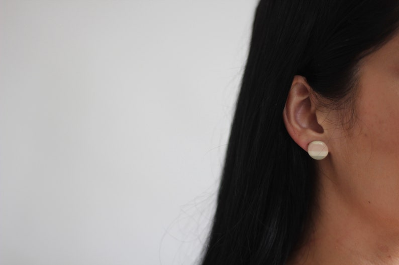handmade ceramic statement earring handmade ceramic jewelry Large Stud Earring in Shoreline Stripe