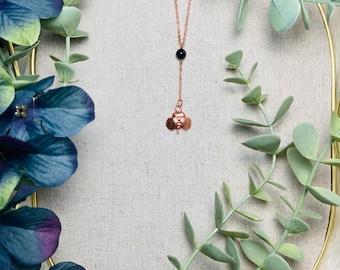 Bumblebee Copper Electroformed Midnight Blue Goldstone Pendant Y-Necklace