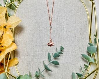 Bumblebee Baby Blue Amazonite Electroformed Copper Pendant Y-Necklace