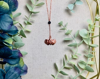 Lunar Moth Electroformed Copper Midnight Blue Goldstone Pendant Y-Necklace