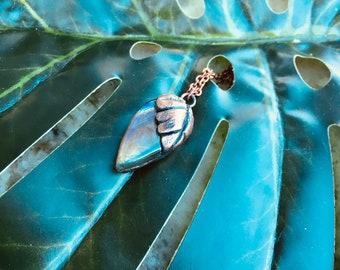 Palm Leaf Rainbow Labradorite Electroformed Copper Pendant Necklace