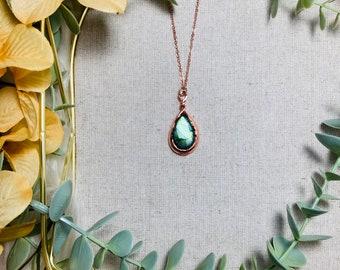 Ocean Blue Iridescent Labradorite Electroformed Pendant Necklace