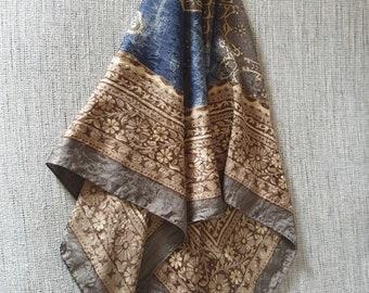 Gorgeous Art of Silk Tie Rack scarf Vintage scarf silk scarf jacquard scarf brown blue tones paisley large scarf pattern